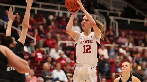<p>               Stanford forward Lexie Hull (12) shoots against Buffalo during the second half of an NCAA college basketball game in Stanford, Calif., Sunday, Nov. 24, 2019. (AP Photo/Jed Jacobsohn)             </p>