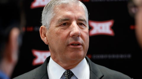 "<p>               FILE - In this July 15, 2019, file photo, conference commissioner Bob Bowlsby answers questions from reporters after his opening remarks on the first day of Big 12 Conference NCAA college football media days, at AT&T Stadium in Arlington, Texas. Parity in the Big 12 this season makes for good competition but also presents a quandary about the league's chances of qualifying a team for the College Football Playoff. Bowlsby says parity ""makes it more difficult, there isn't any question about that.""(AP Photo/David Kent, File)             </p>"