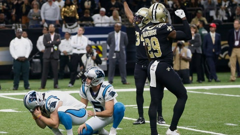 <p>               Carolina Panthers kicker Joey Slye (4) reacts after missing a field goal, late in the fourth quarter during an NFL football game against the New Orleans Saints, Sunday, Nov. 24, 2019, in New Orleans. (AP Photo/Butch Dill)             </p>