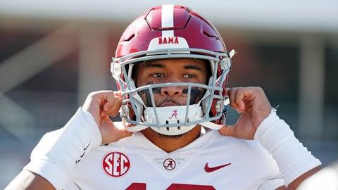 <p>               Alabama quarterback Tua Tagovailoa (13) adjusts his helmet before an NCAA college football game against Mississippi State in Starkville, Miss., Saturday, Nov. 16, 2019. (AP Photo/Rogelio V. Solis)             </p>