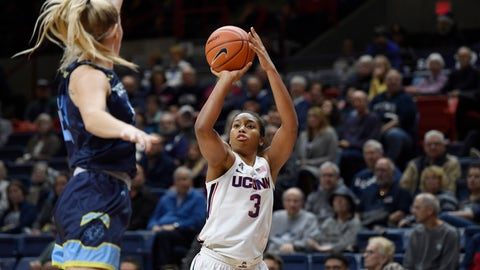 <p>               Connecticut's Megan Walker, right, shoots over Jefferson's Allie Warren during the first half of an NCAA college exhibition basketball game, Sunday, Nov. 3, 2019, in Storrs, Conn. (AP Photo/Jessica Hill)             </p>
