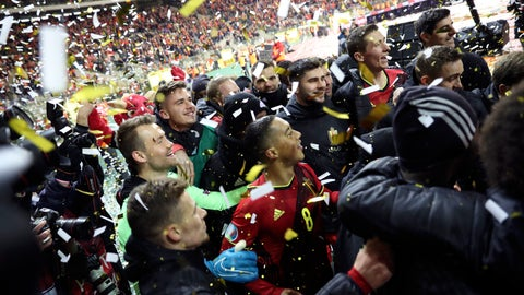 <p>               Belgium players celebrate at the end of the Euro 2020 group I qualifying soccer match between Belgium and Cyprus at the King Baudouin stadium in Brussels, Tuesday, Nov. 19, 2019. Belgium won 6-1. (AP Photo/Francisco Seco)             </p>