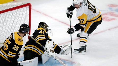 <p>               Boston Bruins goaltender Jaroslav Halak (41) makes a save on a shot by Pittsburgh Penguins center Sidney Crosby (87) during the first period of an NHL hockey game in Boston, Monday, Nov. 4, 2019. (AP Photo/Charles Krupa)             </p>