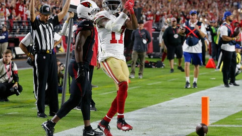 <p>               San Francisco 49ers wide receiver Emmanuel Sanders (17) celebrates his touchdown against the Arizona Cardinals during the first half of an NFL football game, Thursday, Oct. 31, 2019, in Glendale, Ariz. (AP Photo/Rick Scuteri)             </p>