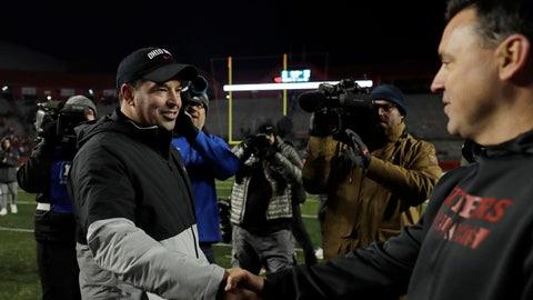 <p>               Ohio State head coach Ryan Day shakes hands with Rutgers interim head coach Nunzio Campanile after their NCAA college football game Saturday, Nov. 16, 2019, in Piscataway, N.J. Ohio State won 56-21. (AP Photo/Adam Hunger)             </p>