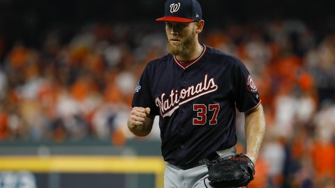 <p>               Washington Nationals starting pitcher Stephen Strasburg reacts after Houston Astros' Michael Brantley grounded out to end the fifth inning of Game 6 of the baseball World Series Tuesday, Oct. 29, 2019, in Houston. (AP Photo/Matt Slocum)             </p>