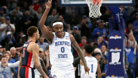 <p>               Memphis' D. J. Jeffries (0) reacts after dunking a basket in the first half of an NCAA college basketball game against Mississippi, Saturday, Nov. 23, 2019, in Memphis, Tenn. (AP Photo/Karen Pulfer Focht)             </p>