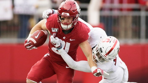 <p>               Washington State running back Max Borghi, left, carries the ball while pressured by Stanford cornerback Kyu Blu Kelly during the first half of an NCAA college football game in Pullman, Wash., Saturday, Nov. 16, 2019. (AP Photo/Young Kwak)             </p>