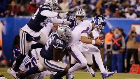 <p>               New York Giants quarterback Daniel Jones (8) is sacked by the Dallas Cowboys during the fourth quarter of an NFL football game, Tuesday, Nov. 5, 2019, in East Rutherford, N.J. (AP Photo/Adam Hunger)             </p>
