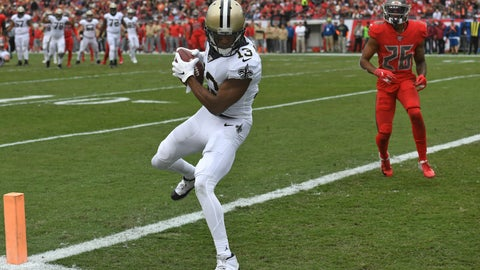 <p>               New Orleans Saints wide receiver Michael Thomas (13) beats Tampa Bay Buccaneers defensive back Sean Murphy-Bunting (26) on a 16-yard touchdown reception during the first half of an NFL football game Sunday, Nov. 17, 2019, in Tampa, Fla. (AP Photo/Jason Behnken)             </p>