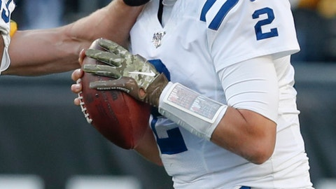 <p>               Indianapolis Colts quarterback Brian Hoyer (2 ) is hit by Pittsburgh Steelers outside linebacker T.J. Watt (90) during the second half an NFL football game, Sunday, Nov. 3, 2019, in Pittsburgh. Watt was penalized on the play. (AP Photo/Don Wright)             </p>