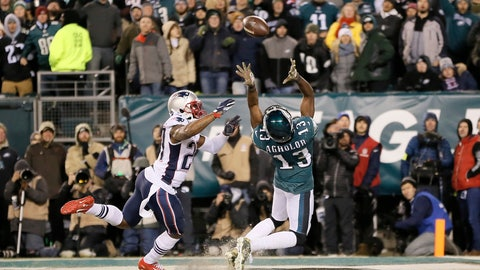 <p>               Philadelphia Eagles' Nelson Agholor (13) cannot catch a pass in the end zone against New England Patriots' J.C. Jackson (27) during the second half of an NFL football game, Sunday, Nov. 17, 2019, in Philadelphia. (AP Photo/Michael Perez)             </p>
