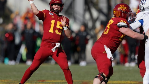 <p>               Iowa State quarterback Brock Purdy drops back to pass during the first half of an NCAA college football game against Kansas, Saturday, Nov. 23, 2019, in Ames, Iowa. (AP Photo/Matthew Putney)             </p>