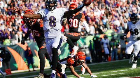 <p>               Baltimore Ravens quarterback Lamar Jackson (8) celebrates his touchdown during the second half of NFL football game against the Cincinnati Bengals, Sunday, Nov. 10, 2019, in Cincinnati. (AP Photo/Frank Victores)             </p>