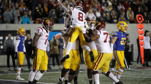 <p>               Southern California's Amon-Ra St. Brown (8) celebrates after scoring a touchdown against California during the first quarter of an NCAA college football game Saturday, Nov. 16, 2019, in Berkeley, Calif. (AP Photo/Ben Margot)             </p>