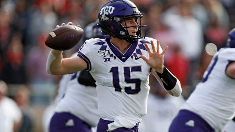 <p>               TCU's Max Duggan (15) passes the ball during the first half of an NCAA college football game against Texas Tech, Saturday, Nov. 16, 2019, in Lubbock, Texas. (Brad Tollefson/Lubbock Avalanche-Journal via AP)             </p>