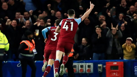 <p>               West Ham's Aaron Cresswell celebrates scoring West Hams first goal during the English Premier League soccer match between Chelsea and West Ham at Stamford Bridge Stadium in Lonodn, England, in London, England, Saturday, Nov. 30, 2019. (AP Photo/Leila Coker)             </p>