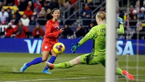 <p>               United States forward Christen Press, left, scores past Sweden goalkeeper Hedvig Lindahl during the first half of a women's international friendly soccer match in Columbus, Ohio, Thursday, Nov. 7, 2019. (AP Photo/Paul Vernon)             </p>