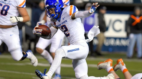 <p>               Boise State wide receiver Khalil Shakir (2) runs into the end zone for a 14-yard touchdown against Utah State during the first half of an NCAA college football game Saturday, Nov. 23, 2019, in Logan, Utah. (AP Photo/Eli Lucero)             </p>