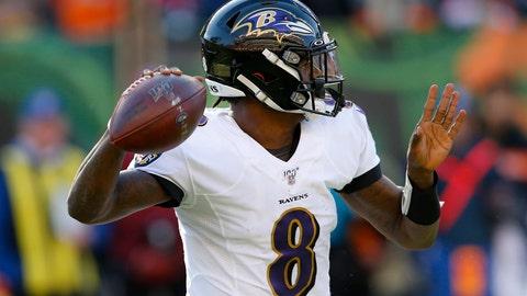 <p>               Baltimore Ravens quarterback Lamar Jackson passes during the second half of NFL football game against the Cincinnati Bengals, Sunday, Nov. 10, 2019, in Cincinnati. (AP Photo/Gary Landers)             </p>
