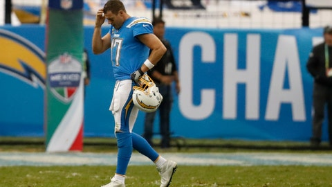 <p>               Los Angeles Chargers quarterback Philip Rivers walks off the field during the second half of an NFL football game against the Kansas City Chiefs, Monday, Nov. 18, 2019, in Mexico City. (AP Photo/Eduardo Verdugo)             </p>