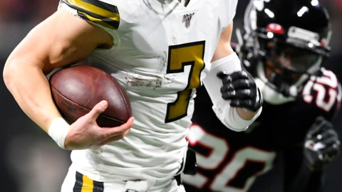 <p>               New Orleans Saints quarterback Taysom Hill (7) runs for a touchdown against the Atlanta Falcons during the first half of an NFL football game, Thursday, Nov. 28, 2019, in Atlanta. (AP Photo/John Amis)             </p>