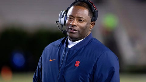 <p>               Syracuse Head Coach Dino Babers smiles on the sideline during an NCAA college football game against Duke in Durham, N.C., Saturday, Nov. 16, 2019. (AP Photo/Ben McKeown)             </p>