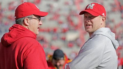 <p>               Nebraska head coach Scott Frost, right, and Wisconsin head coach Paul Chryst talk before an NCAA college football game in Lincoln, Neb., Saturday, Nov. 16, 2019. (AP Photo/Nati Harnik)             </p>