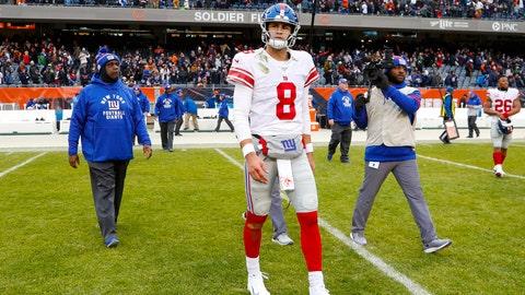 <p>               New York Giants quarterback Daniel Jones (8) walks off the field following an NFL football game against the Chicago Bears in Chicago, Sunday, Nov. 24, 2019. (AP Photo/Paul Sancya)             </p>