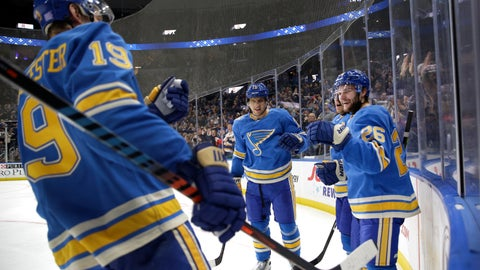 <p>               St. Louis Blues' Nathan Walker (26) is congratulated by teammates Jay Bouwmeester (19) and Brayden Schenn, center, after scoring during the second period of an NHL hockey game against the Pittsburgh Penguins, Saturday, Nov. 30, 2019, in St. Louis. (AP Photo/Jeff Roberson)             </p>