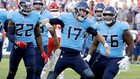 <p>               Tennessee Titans quarterback Ryan Tannehill (17) celebrates after scoring a 2-point conversion against the Kansas City Chiefs in the second half of an NFL football game Sunday, Nov. 10, 2019, in Nashville, Tenn. The Titans won 35-32. (AP Photo/James Kenney)             </p>