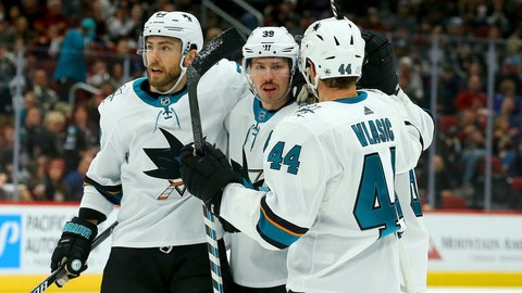<p>               San Jose Sharks center Logan Couture (39) celebrates his goal against the Arizona Coyotes with center Barclay Goodrow, left, and defenseman Marc-Edouard Vlasic (44) during the first period of an NHL hockey game Saturday, Nov. 30, 2019, in Glendale, Ariz. (AP Photo/Ross D. Franklin)             </p>