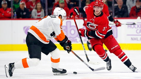 <p>               Carolina Hurricanes' Andrei Svechnikov (37), of Russia, works the puck as Philadelphia Flyers' Ivan Provorov (9), of Russia, defends during the second period of an NHL hockey game in Raleigh, N.C., Thursday, Nov. 21, 2019. (AP Photo/Karl B DeBlaker)             </p>