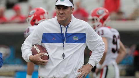 <p>               In this Nov. 2, 2019 file photo Florida head coach Dan Mullen walks on the field before an NCAA college football game against Georgia in Jacksonville, Fla. Mullen is unbeaten against Florida State. The eighth-ranked Gators (9-2) have dropped four straight at home to their biggest in-state rival, a decade-old skid they hope to end Saturday, Nov. 30, 2019 in the Swamp. (AP Photo/John Raoux)             </p>