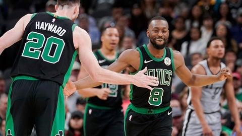 <p>               Boston Celtics' Kemba Walker (8) and Gordon Hayward celebrate a basket during the first half of an NBA basketball game against the San Antonio Spurs, Saturday, Nov. 9, 2019, in San Antonio. (AP Photo/Darren Abate)             </p>