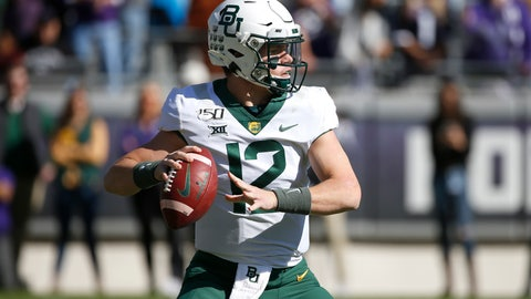 <p>               Baylor quarterback Charlie Brewer (12) looks to throw against TCU during the first half of an NCAA college football game, Saturday, Nov. 9, 2019, in Fort Worth, Texas. (AP Photo/Ron Jenkins)             </p>