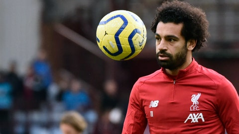 <p>               Liverpool's Mohamed Salah controls the ball during warmup before the English Premier League soccer match between Aston Villa and Liverpool at Villa Park in Birmingham, England, Saturday, Nov. 2, 2019. (AP Photo/Rui Vieira)             </p>
