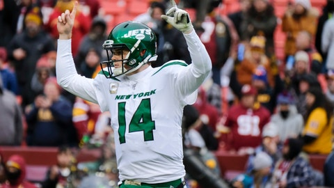 <p>               New York Jets quarterback Sam Darnold (14) celebrates a touchdown against the Washington Redskins during the second half of an NFL football game, Sunday, Nov. 17, 2019, in Landover, Md. (AP Photo/Mark Tenally)             </p>
