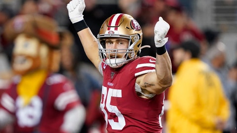 <p>               San Francisco 49ers tight end George Kittle (85) celebrates after scoring against the Green Bay Packers during the second half of an NFL football game in Santa Clara, Calif., Sunday, Nov. 24, 2019. (AP Photo/Tony Avelar)             </p>