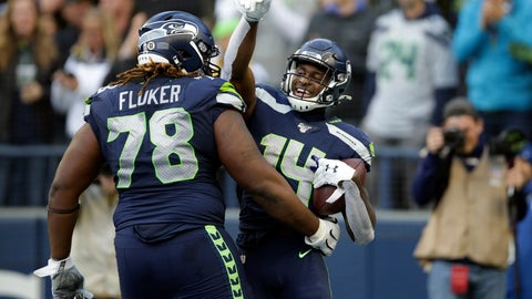 <p>               Seattle Seahawks wide receiver DK Metcalf, right, celebrates with D.J. Fluker (78) after scoring a touchdown against the Tampa Bay Buccaneers during the second half of an NFL football game, Sunday, Nov. 3, 2019, in Seattle. (AP Photo/Scott Eklund)             </p>
