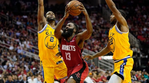 <p>               Houston Rockets' James Harden (13) is fouled by Golden State Warriors' Alec Burks (8) as Glenn Robinson III (22) helps defend during the second half of an NBA basketball game Wednesday, Nov. 6, 2019, in Houston. The Rockets won 129-112. (AP Photo/David J. Phillip)             </p>