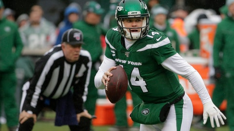 <p>               New York Jets quarterback Sam Darnold (14) looks to pass during the first half of an NFL football game against the Oakland Raiders Sunday, Nov. 24, 2019, in East Rutherford, N.J. (AP Photo/Seth Wenig)             </p>