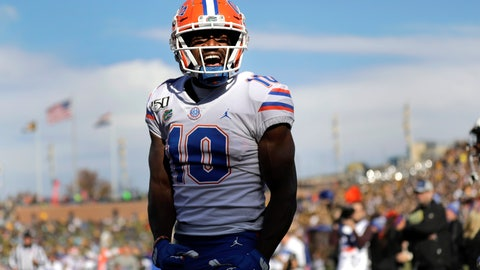 <p>               Florida wide receiver Josh Hammond celebrates after catching a touchdown pass during the second half of an NCAA college football game against Missouri Saturday, Nov. 16, 2019, in Columbia, Mo. Florida won 23-6. (AP Photo/Jeff Roberson)             </p>
