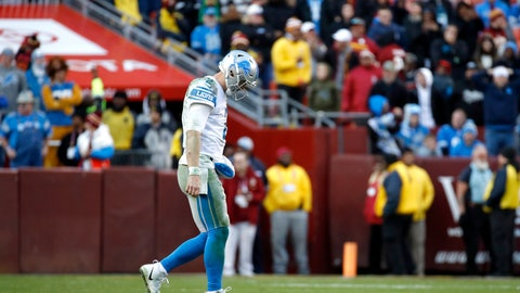 <p>               Detroit Lions quarterback Jeff Driskel leaves the field after being intercepted by Washington Redskins cornerback Quinton Dunbar during the second half of an NFL football game, Sunday, Nov. 24, 2019, in Landover, Md. The Redskins won 19-16. (AP Photo/Patrick Semansky)             </p>
