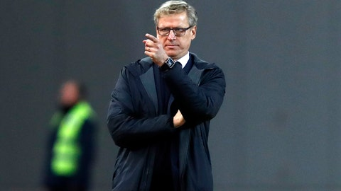 <p>               FILE - In this file photo dated Thursday, Nov. 15, 2018, Finland's coach Markku Kanerva during the UEFA Nations League soccer match between Greece and Finland at Olympic stadium in Athens.  Finland could seal a place in the finals of next year's European Championship for the first time in its history on upcoming Friday Nov. 15, 2019, if they beat Liechtenstein at home.  It's a day many in this Nordic country thought would never arrive after so many past disappointments but Finland's ex-school teacher coach Markku Kanerva could be changing the mentality of a nation. (AP Photo/Thanassis Stavrakis, FILE)             </p>
