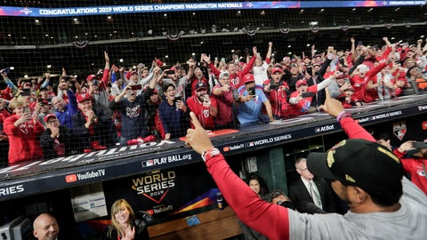 <p>               Washington Nationals manager Dave Martinez waves to the fans after Game 7 of the baseball World Series against the Houston Astros Wednesday, Oct. 30, 2019, in Houston. The Nationals won 6-2 to win the series. (AP Photo/David J. Phillip)             </p>