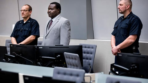 """<p>               FILE - In this Friday, Jan. 25, 2019 file photo, chief of Central African Republic's soccer federation Patrice-Edouard Ngaissona stands during his initial appearance before the judges of the International Criminal Court (ICC) in The Hague, the Netherlands. FIFA has banned a leading African soccer official who faces trial for war crimes in The Hague. FIFA says its ethics judges on Thursday, Nov. 28 banned Ngaissona for six years and eight months on charges including """"discrimination and of failing to protect, respect or safeguard integrity and human dignity."""" He was president of the Central African Republic's soccer body for more than a decade since 2008. (Koen Van Well/Pool photo via AP, file)             </p>"""