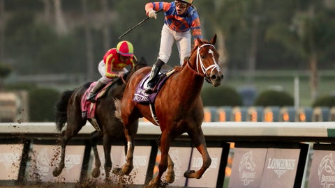 <p>               Irad Ortiz Jr. celebrates after riding Vino Rosso to victory in the Breeders' Cup Classic horse race at Santa Anita Park, Saturday, Nov. 2, 2019, in Arcadia, Calif. (AP Photo/Gregory Bull)             </p>