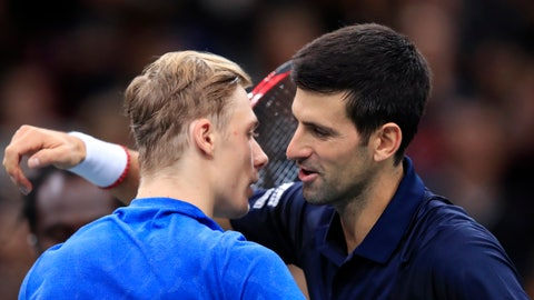 <p>               Novak Djokovic of Serbia greets Denis Shapovalov of Canada, left, after winning the final match of the Paris Masters tennis tournament in Paris, Sunday, Nov. 3, 2019. Djokovic defeated Shapovalov of Canada 6-3/6-4. (AP Photo/Michel Euler)             </p>