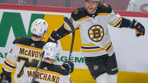 <p>               Boston Bruins right wing David Pastrnak (88) celebrates with teammates after scoring his second goal against the Montreal Canadiens during second period NHL hockey action Tuesday, November 26, 2019 in Montreal. (Ryan Remiorz/The Canadian Press via AP)             </p>